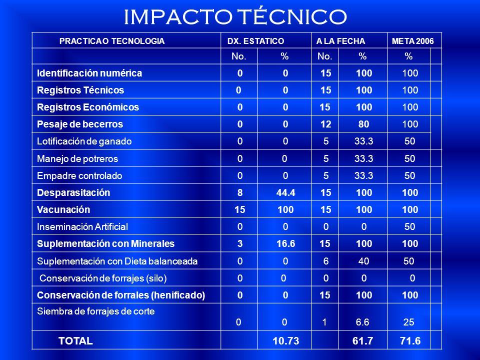 IMPACTO TÉCNICO PRACTICA O TECNOLOGIA DX. ESTATICOA LA FECHAMETA 2006 No.% % Identificación numérica 0 0 15 100 Registros Técnicos0 0 15 100 Registros