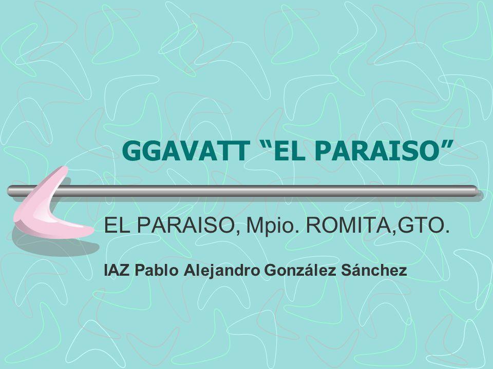 GGAVATT EL PARAISO EL PARAISO, Mpio. ROMITA,GTO. IAZ Pablo Alejandro González Sánchez