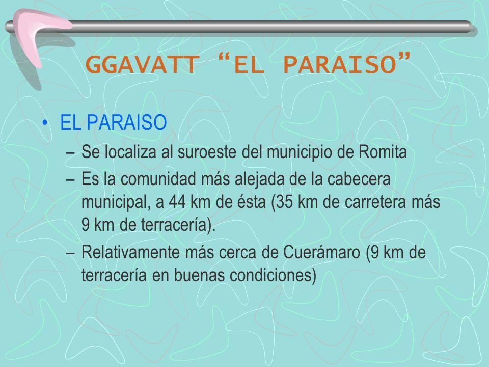 GGAVATT EL PARAISO EL PARAISO –Se localiza al suroeste del municipio de Romita –Es la comunidad más alejada de la cabecera municipal, a 44 km de ésta