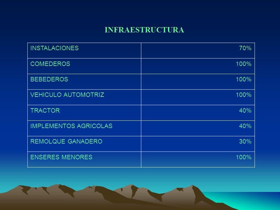 INFRAESTRUCTURA INSTALACIONES70% COMEDEROS100% BEBEDEROS100% VEHICULO AUTOMOTRIZ100% TRACTOR40% IMPLEMENTOS AGRICOLAS40% REMOLQUE GANADERO30% ENSERES