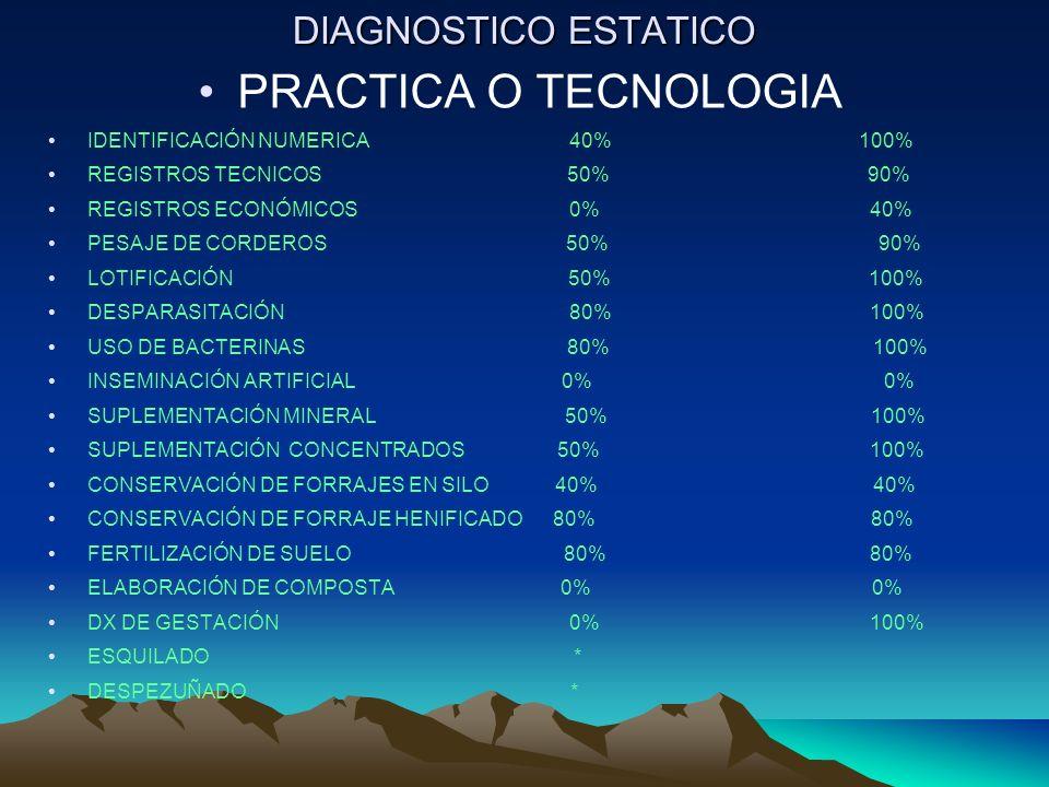 DIAGNOSTICO ESTATICO PRACTICA O TECNOLOGIA IDENTIFICACIÓN NUMERICA 40% 100% REGISTROS TECNICOS 50% 90% REGISTROS ECONÓMICOS 0% 40% PESAJE DE CORDEROS