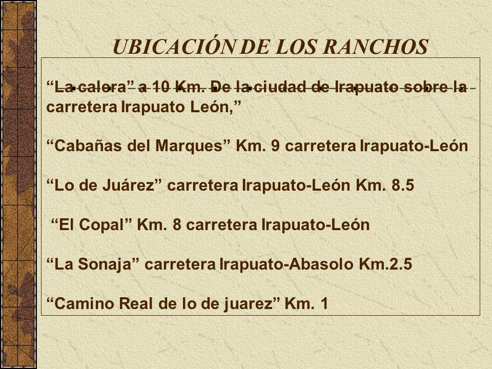 UBICACIÓN DE LOS RANCHOS La calera a 10 Km.