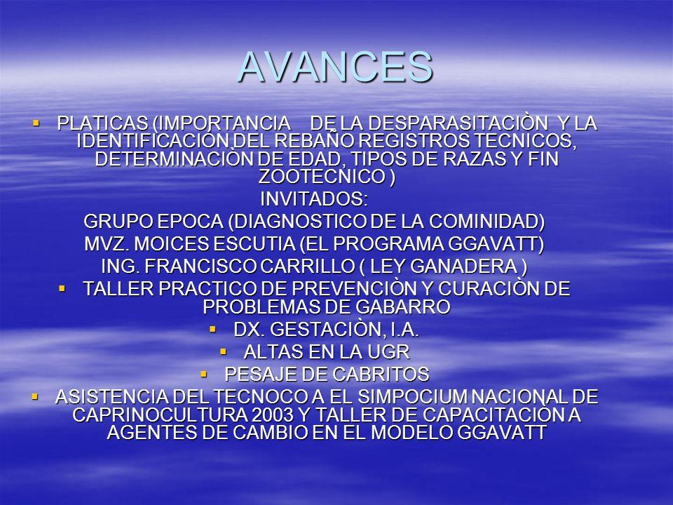 AVANCES PLATICAS (IMPORTANCIA DE LA DESPARASITACIÒN Y LA IDENTIFICACIÓN DEL REBAÑO REGISTROS TECNICOS, DETERMINACIÒN DE EDAD, TIPOS DE RAZAS Y FIN ZOO