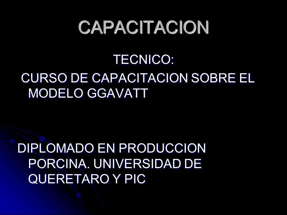 CAPACITACION TECNICO: CURSO DE CAPACITACION SOBRE EL MODELO GGAVATT CURSO DE CAPACITACION SOBRE EL MODELO GGAVATT DIPLOMADO EN PRODUCCION PORCINA. UNI