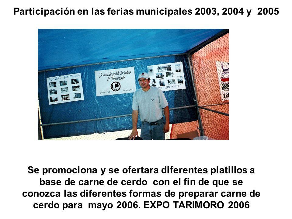 Participación en las ferias municipales 2003, 2004 y 2005 Se promociona y se ofertara diferentes platillos a base de carne de cerdo con el fin de que