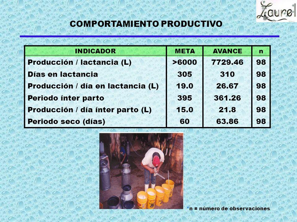 INDICADORMETAAVANCEn Producción / lactancia (L)>60007729.4698 Días en lactancia30531098 Producción / día en lactancia (L)19.026.6798 Periodo ínter parto395361.2698 Producción / día ínter parto (L)15.021.898 Periodo seco (días)6063.8698 COMPORTAMIENTO PRODUCTIVO *n = número de observaciones