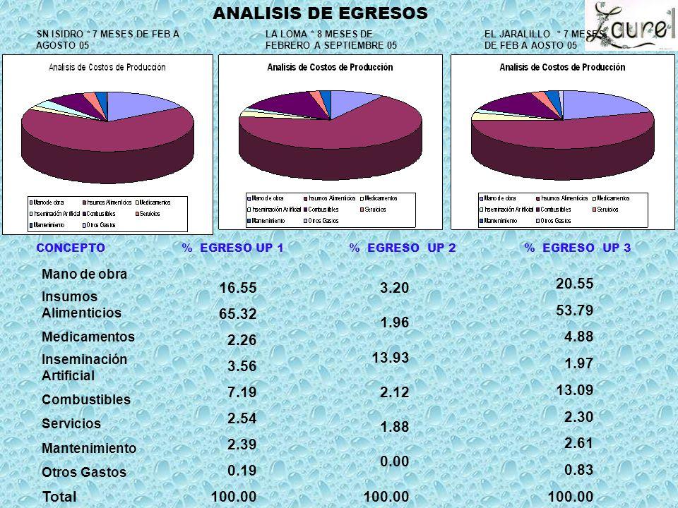 Mano de obra Insumos Alimenticios Medicamentos Inseminación Artificial Combustibles Servicios Mantenimiento Otros Gastos Total 16.55 65.32 2.26 3.56 7.19 2.54 2.39 0.19 100.00 CONCEPTO % EGRESO UP 1 % EGRESO UP 2 % EGRESO UP 3 ANALISIS DE EGRESOS SN ISIDRO * 7 MESES DE FEB A AGOSTO 05 LA LOMA * 8 MESES DE FEBRERO A SEPTIEMBRE 05 3.20 1.96 13.93 2.12 1.88 0.00 100.00 EL JARALILLO * 7 MESES DE FEB A AOSTO 05 20.55 53.79 4.88 1.97 13.09 2.30 2.61 0.83 100.00