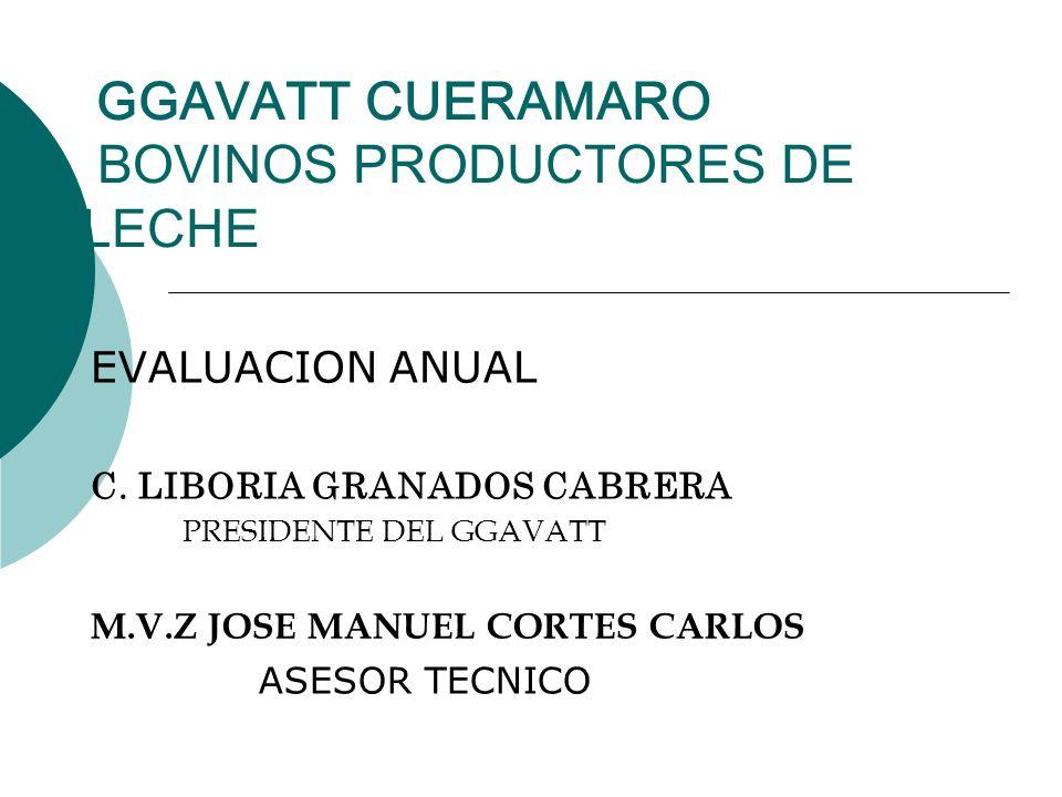 GGAVATT CUERAMARO BOVINOS PRODUCTORES DE LECHE EVALUACION ANUAL C. LIBORIA GRANADOS CABRERA PRESIDENTE DEL GGAVATT M.V.Z JOSE MANUEL CORTES CARLOS ASE