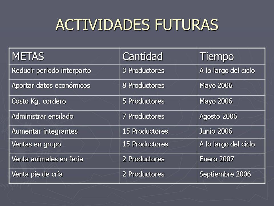 ACTIVIDADES FUTURAS METASCantidadTiempo Reducir periodo interparto 3 Productores A lo largo del ciclo Aportar datos económicos 8 Productores Mayo 2006 Costo Kg.