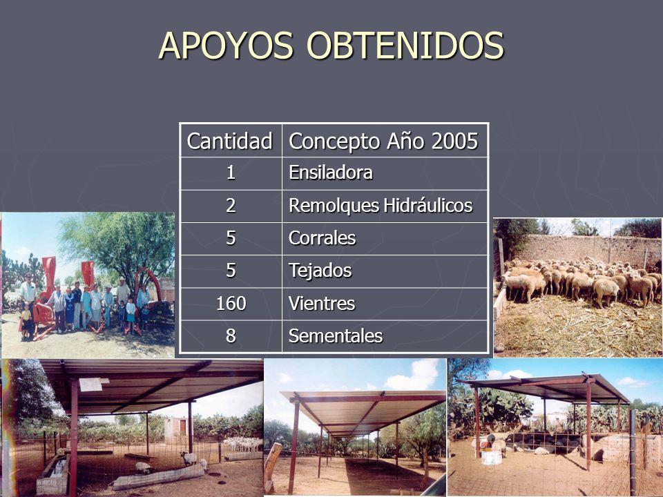 APOYOS OBTENIDOS Cantidad Concepto Año 2005 1Ensiladora 2 Remolques Hidráulicos 5Corrales 5Tejados 160Vientres 8Sementales