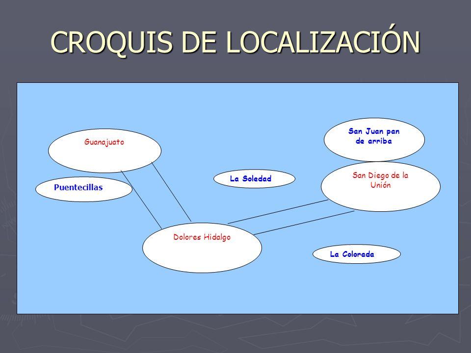 CROQUIS DE LOCALIZACIÓN Dolores Hidalgo San Diego de la Unión San Juan pan de arriba La Soledad Guanajuato Puentecillas La Colorada
