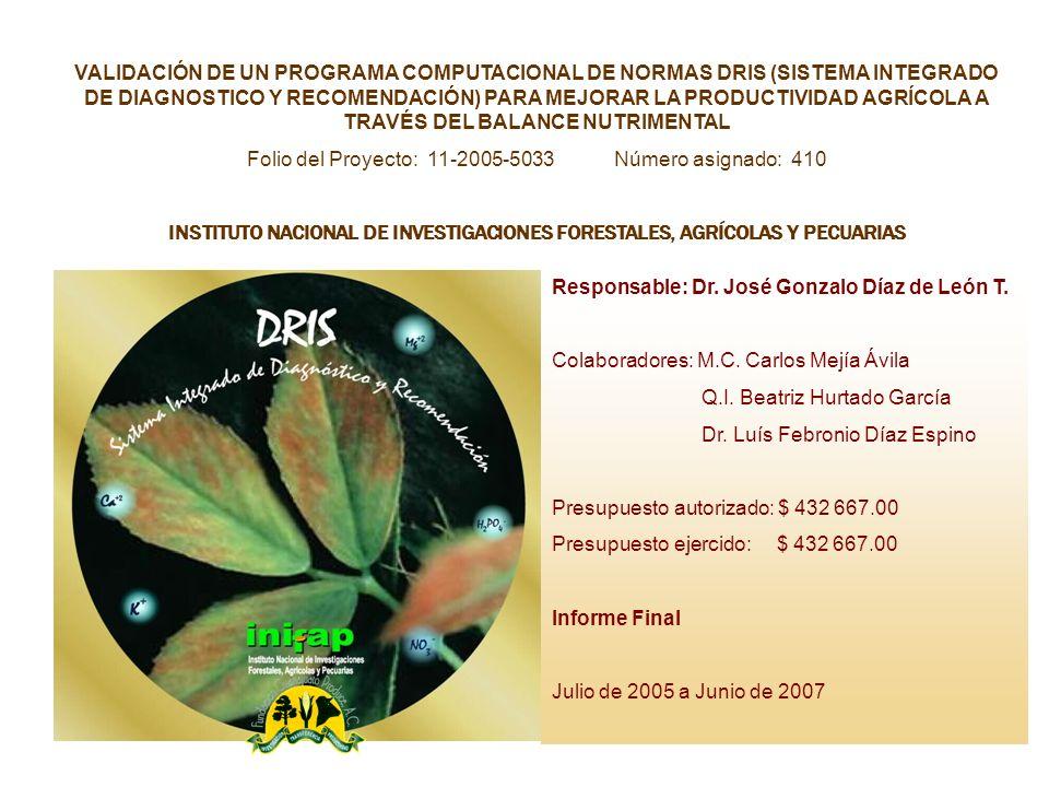 1 VALIDACIÓN DE UN PROGRAMA COMPUTACIONAL DE NORMAS DRIS (SISTEMA INTEGRADO DE DIAGNOSTICO Y RECOMENDACIÓN) PARA MEJORAR LA PRODUCTIVIDAD AGRÍCOLA A T