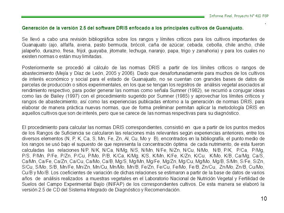 10 Informe Final, Proyecto N° 410 FGP. Generación de la versión 2.5 del software DRIS enfocado a los principales cultivos de Guanajuato. Se llevó a ca