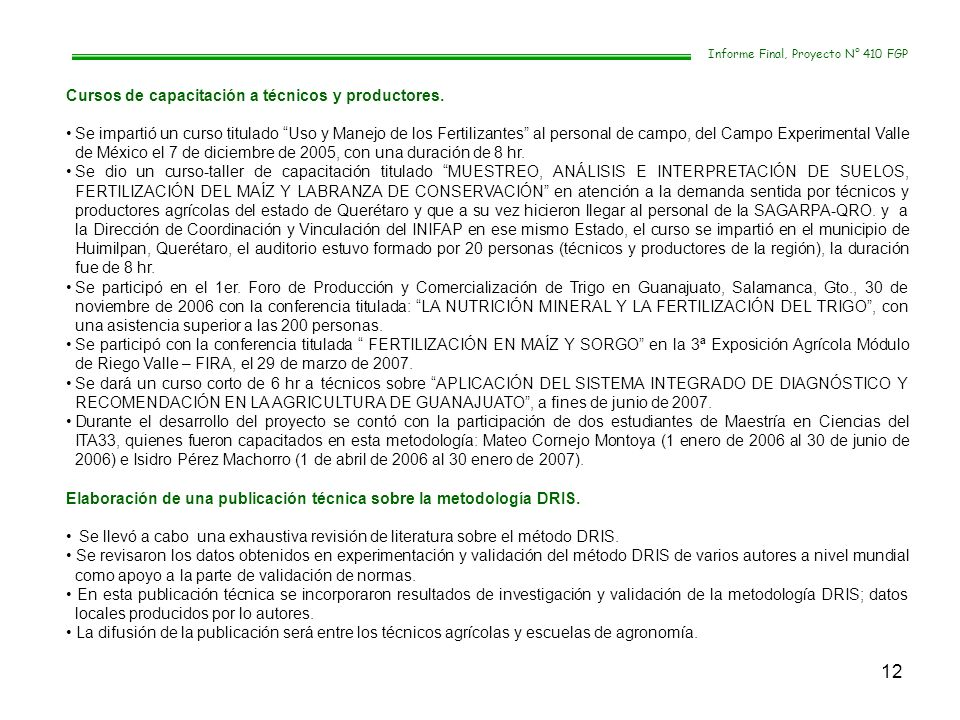 12 Informe Final, Proyecto N° 410 FGP Cursos de capacitación a técnicos y productores. Se impartió un curso titulado Uso y Manejo de los Fertilizantes