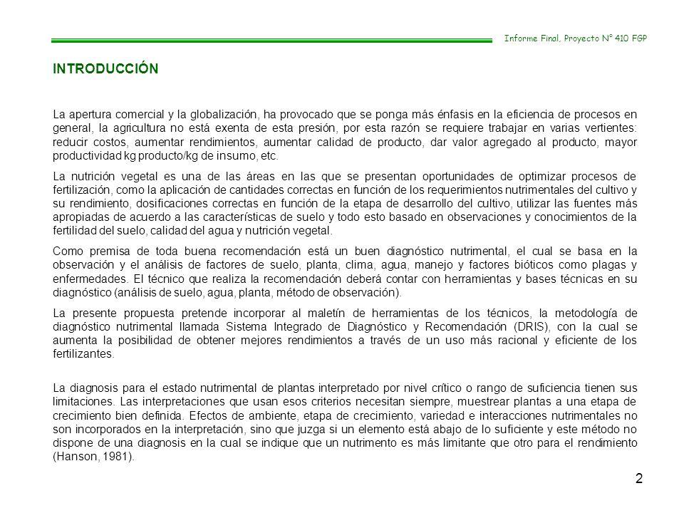 13 Informe Final, Proyecto N° 410 FGP Elaboración de curvas de extracción nutrimental.