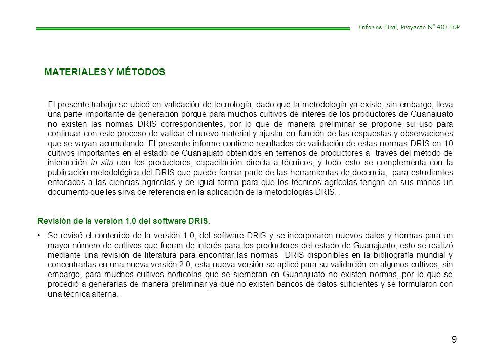10 Informe Final, Proyecto N° 410 FGP.