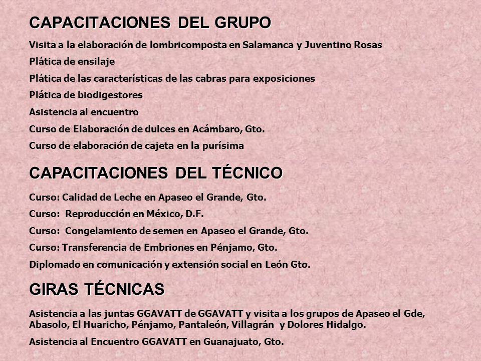 CAPACITACIONES DEL GRUPO Visita a la elaboración de lombricomposta en Salamanca y Juventino Rosas Plática de ensilaje Plática de las características d