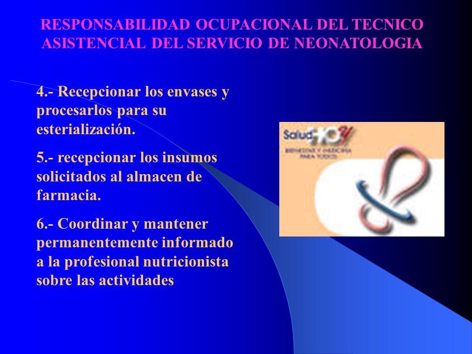 RESPONSABILIDAD OCUPACIONAL DEL TECNICO ASISTENCIAL DEL SERVICIO DE NEONATOLOGIA 1.- Efectuar las operaciones previas a la cofeccion de formulas lacte