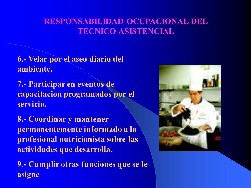RESPONSABILIDAD OCUPACIONAL DEL TECNICO ASISTENCIAL 1.- Efectuar las operaciones previas para la recepcion de las preparaciones en horarios establecid