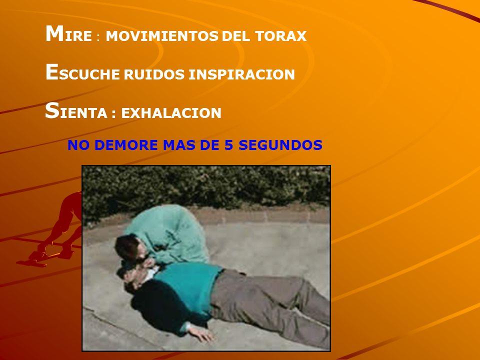 M IRE : MOVIMIENTOS DEL TORAX E SCUCHE RUIDOS INSPIRACION S IENTA : EXHALACION NO DEMORE MAS DE 5 SEGUNDOS