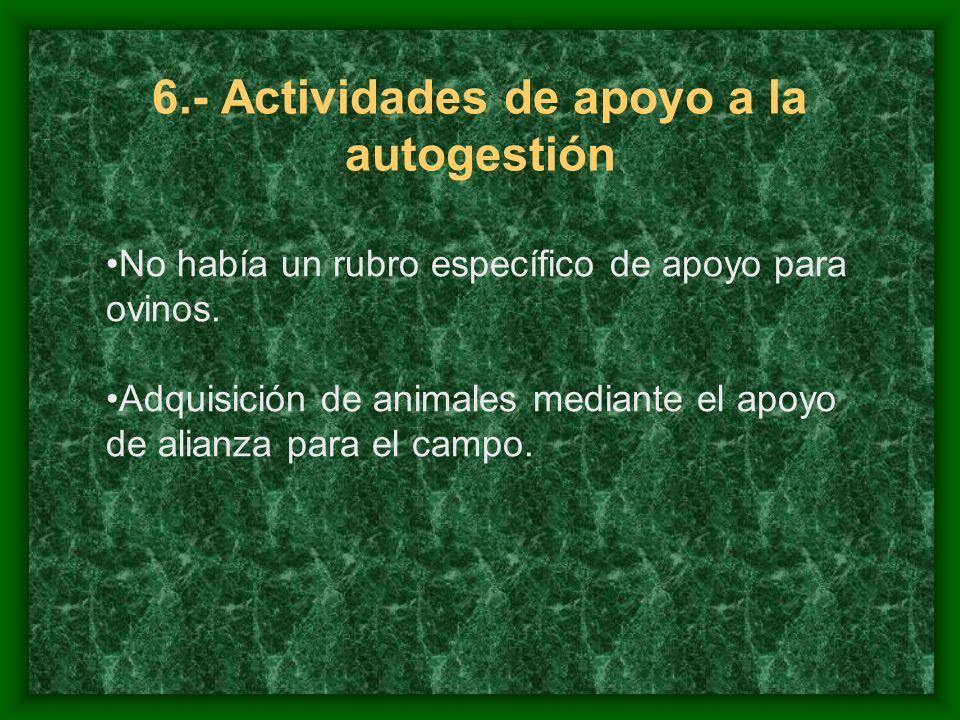 6.- Actividades de apoyo a la autogestión No había un rubro específico de apoyo para ovinos.