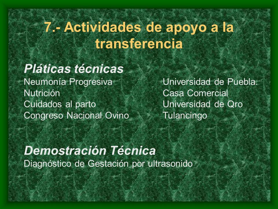 7.- Actividades de apoyo a la transferencia Pláticas técnicas Neumonía ProgresivaUniversidad de Puebla.