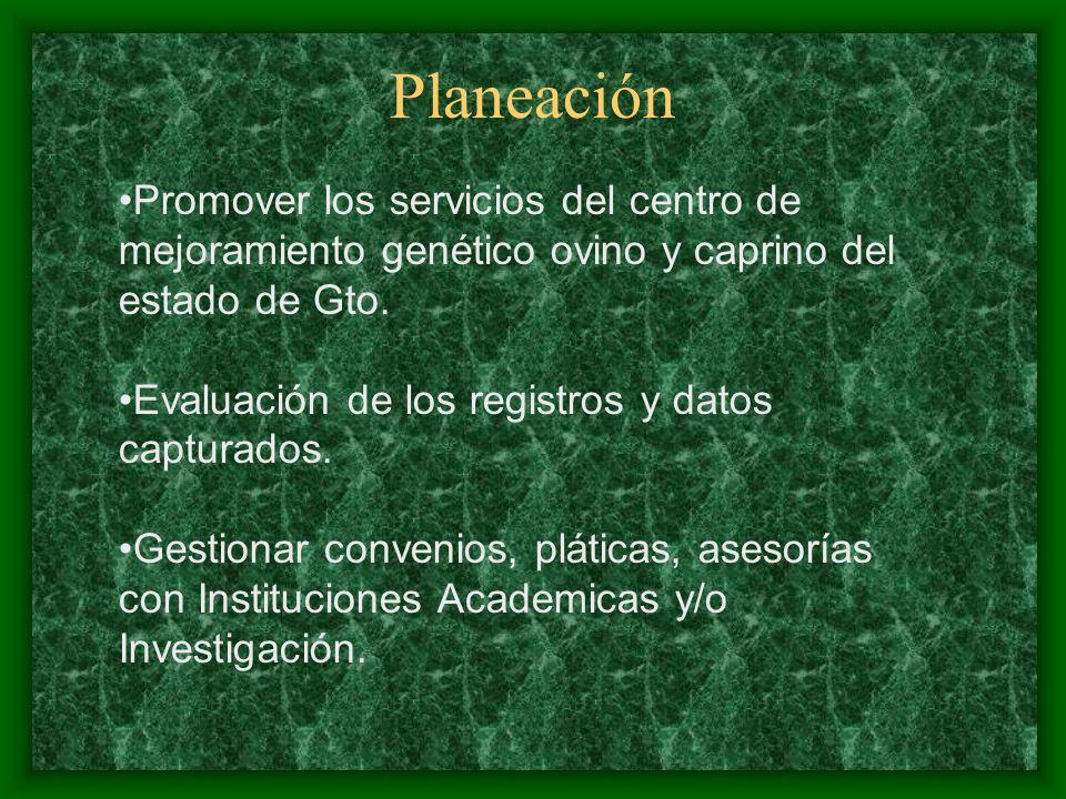 Planeación Promover los servicios del centro de mejoramiento genético ovino y caprino del estado de Gto.