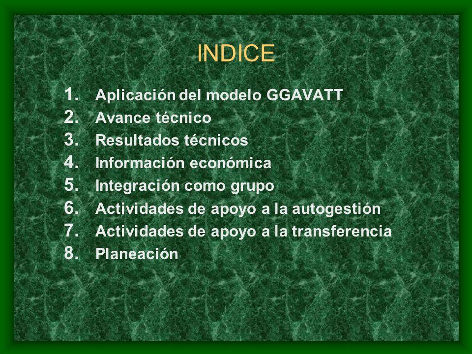 INDICE 1. Aplicación del modelo GGAVATT 2. Avance técnico 3.