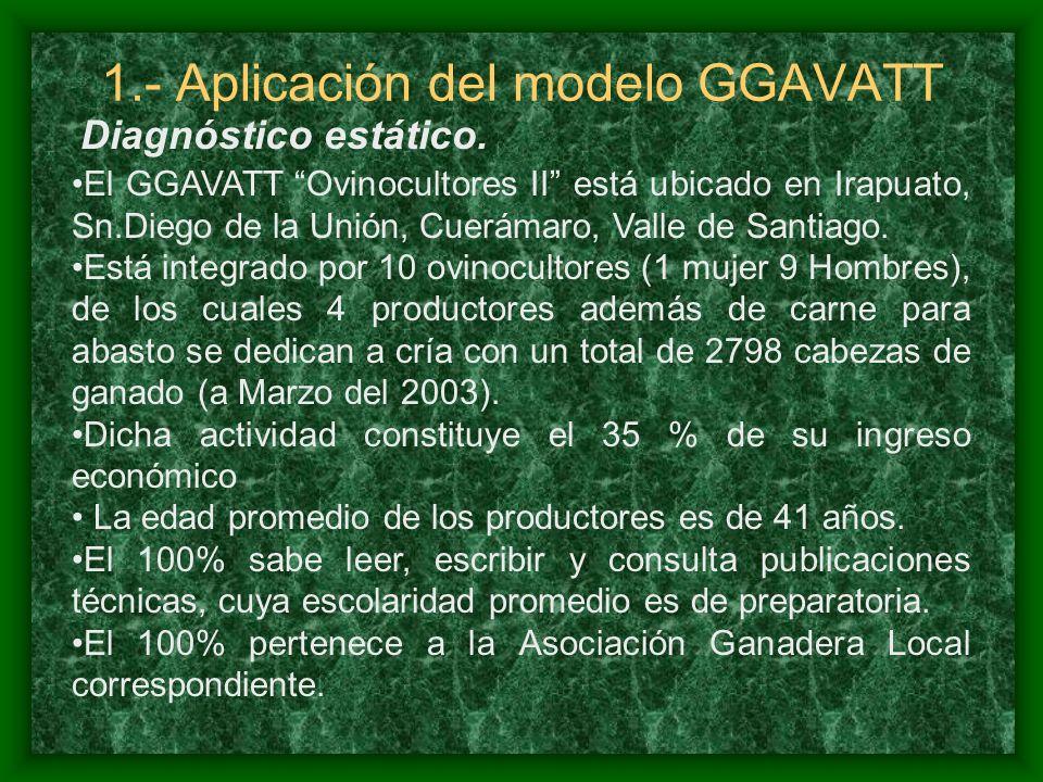 1.- Aplicación del modelo GGAVATT El GGAVATT Ovinocultores II está ubicado en Irapuato, Sn.Diego de la Unión, Cuerámaro, Valle de Santiago.