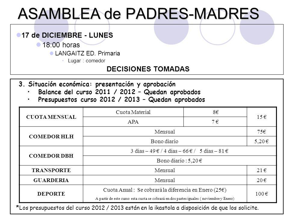 ASAMBLEA de PADRES-MADRES 3. Situación económica: presentación y aprobación Balance del curso 2011 / 2012 – Quedan aprobados Presupuestos curso 2012 /