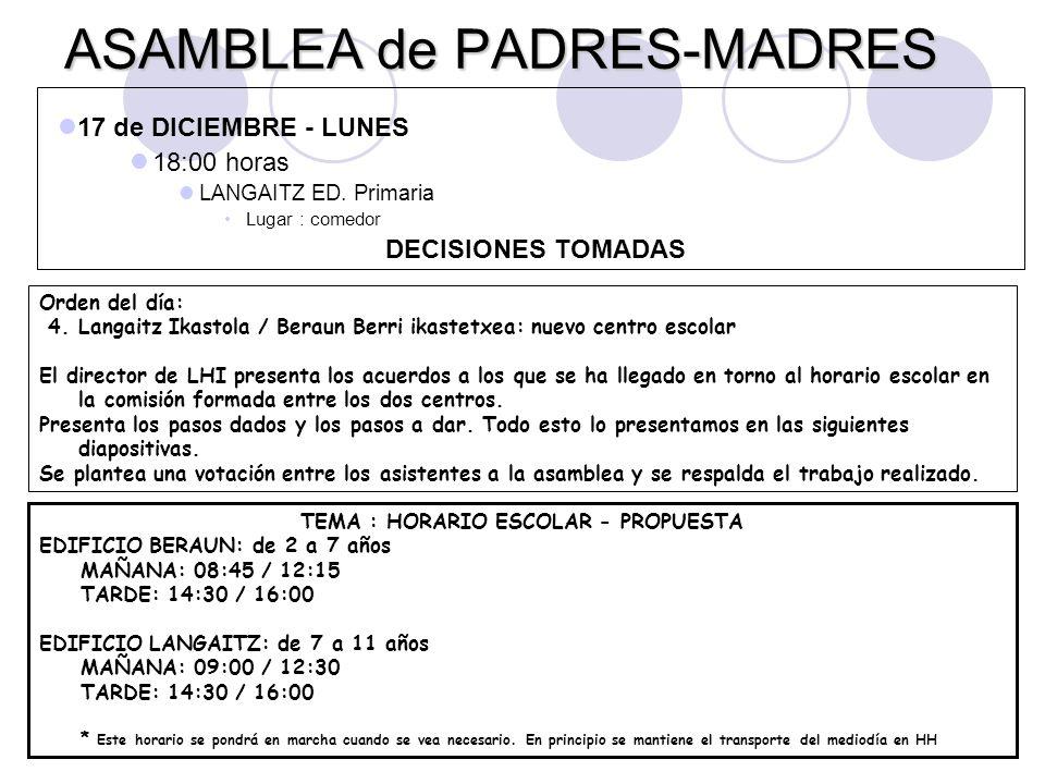 ASAMBLEA de PADRES-MADRES 17 de DICIEMBRE - LUNES 18:00 horas LANGAITZ ED. Primaria Lugar : comedor DECISIONES TOMADAS Orden del día: 4. Langaitz Ikas