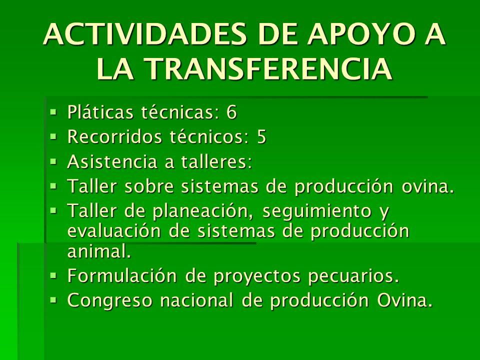 ACTIVIDADES DE APOYO A LA TRANSFERENCIA Pláticas técnicas: 6 Pláticas técnicas: 6 Recorridos técnicos: 5 Recorridos técnicos: 5 Asistencia a talleres: