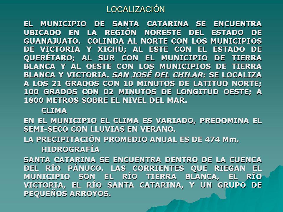 No. DE PRODUCTORES: 15 EJIDO SAN JOSE DEL CHILAR SANTA CATARINA, GTO. FECHA DE ASAMBLEA CONSTITUTIVA: 30 DE SEPTIEMBRE DE 2002