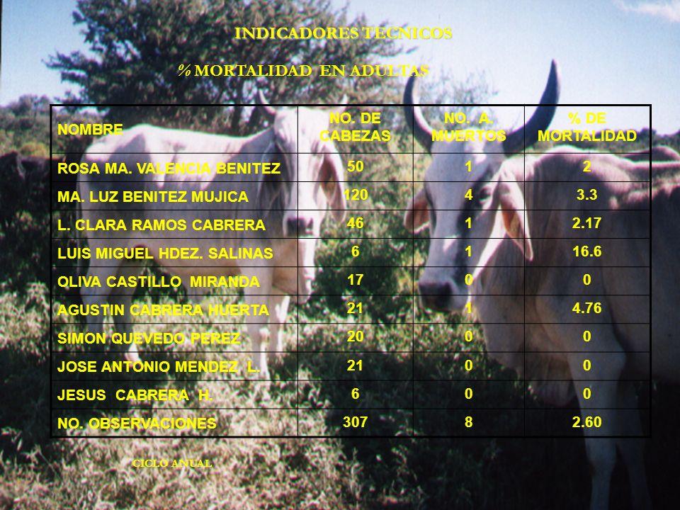 NOMBRE NO. DE CABEZAS NO. A. MUERTOS % DE MORTALIDAD ROSA MA. VALENCIA BENITEZ 5012 MA. LUZ BENITEZ MUJICA 12043.3 L. CLARA RAMOS CABRERA 4612.17 LUIS