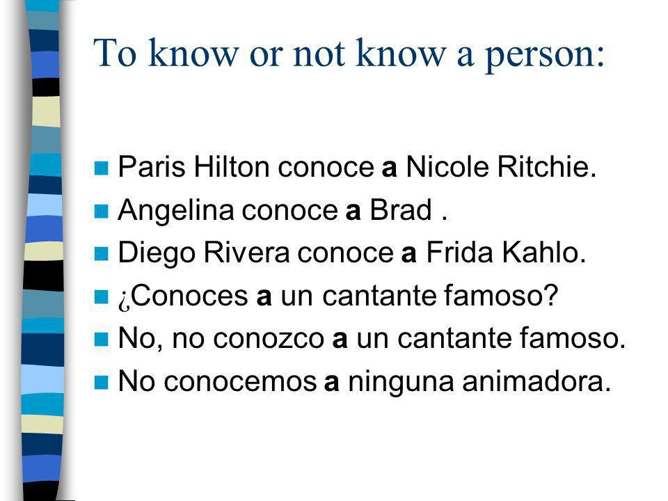 Conjugation for conocer: Yo conozcoNosotros conocemos T ú conocesVosotros conocéis É l, ella, usted conoce Ellos, ellas, ustedes conocen