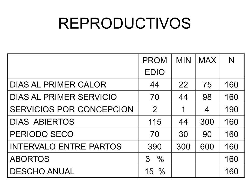 REPRODUCTIVOS PROM EDIO MINMAXN DIAS AL PRIMER CALOR442275160 DIAS AL PRIMER SERVICIO704498160 SERVICIOS POR CONCEPCION214190 DIAS ABIERTOS11544300160