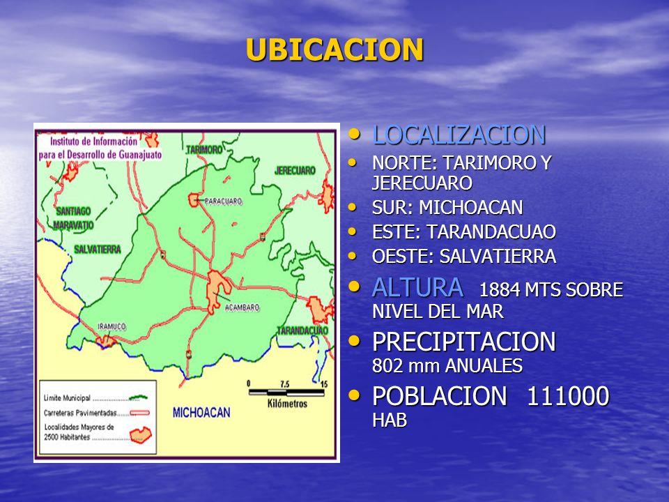 UBICACION LOCALIZACION LOCALIZACION NORTE: TARIMORO Y JERECUARO NORTE: TARIMORO Y JERECUARO SUR: MICHOACAN SUR: MICHOACAN ESTE: TARANDACUAO ESTE: TARA