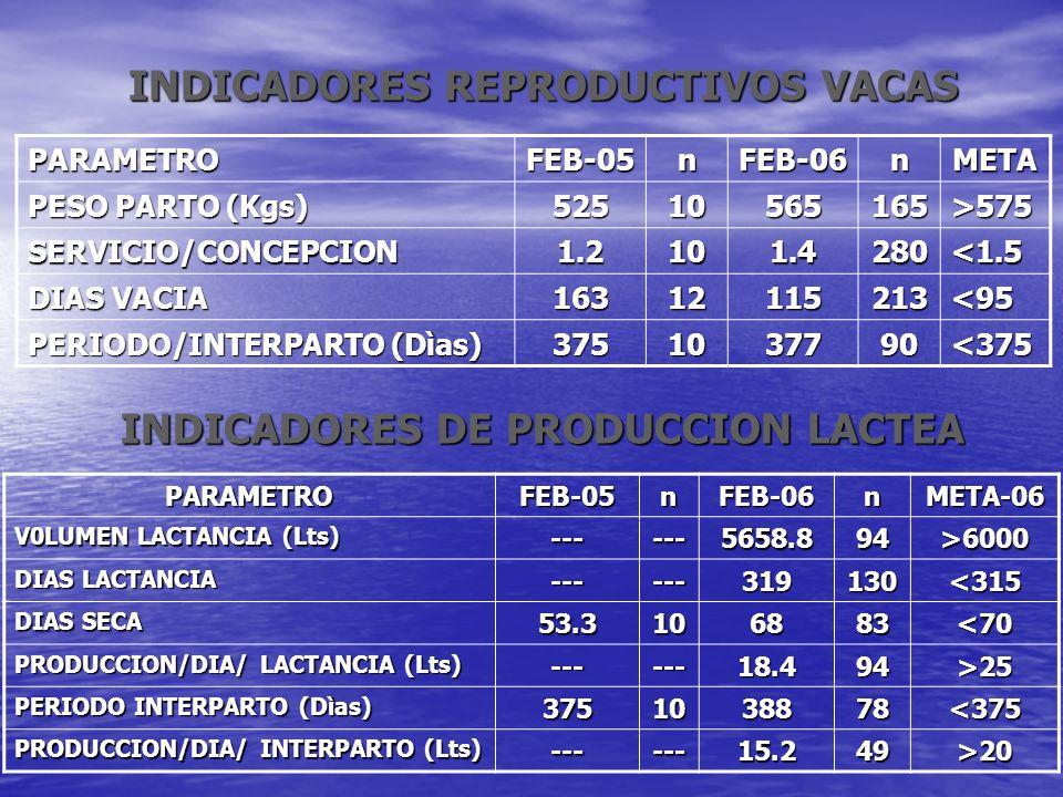 INDICADORES REPRODUCTIVOS VACAS PARAMETROFEB-05nFEB-06nMETA PESO PARTO (Kgs) 52510565165>575 SERVICIO/CONCEPCION1.2101.4280<1.5 DIAS VACIA 16312115213