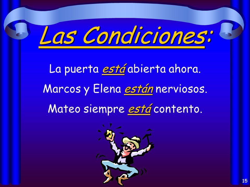 14 El Lugar: está Madrid está en España. están Mis libros están en mi casa.