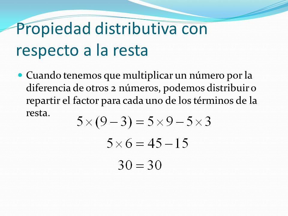 Propiedad distributiva con respecto a la resta Cuando tenemos que multiplicar un número por la diferencia de otros 2 números, podemos distribuir o repartir el factor para cada uno de los términos de la resta.