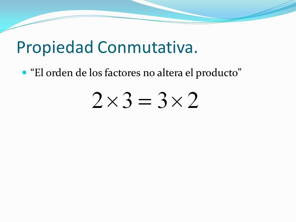 Propiedad Conmutativa. El orden de los factores no altera el producto