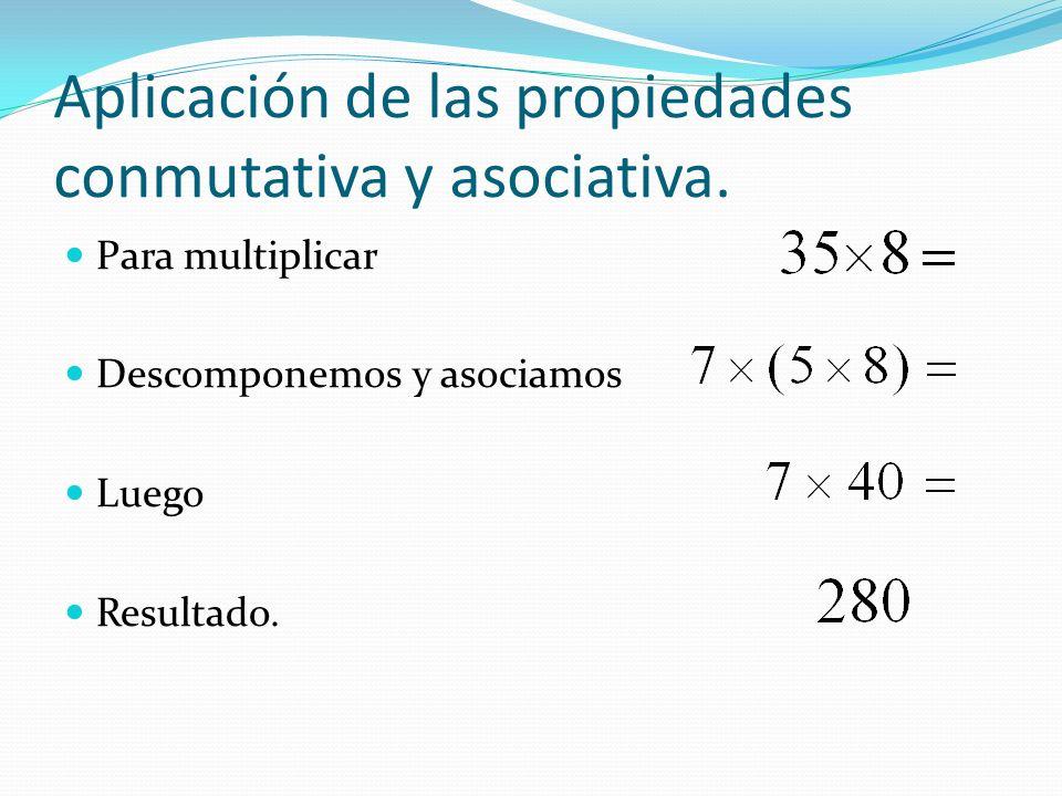 Elemento neutro Cualquier número multiplicado por 1 da como resultado el mismo número.