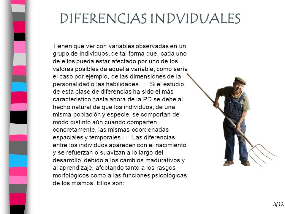 DIFERENCIAS INDVIDUALES 3/12 Tienen que ver con variables observadas en un grupo de individuos, de tal forma que, cada uno de ellos pueda estar afecta