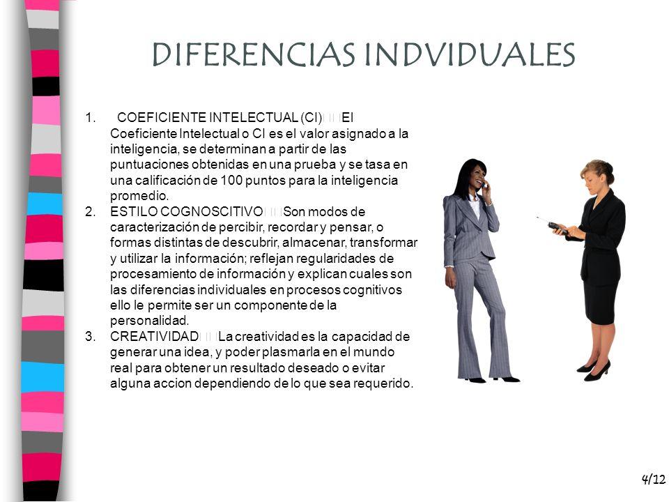 4/12 DIFERENCIAS INDVIDUALES 1. COEFICIENTE INTELECTUAL (CI) El Coeficiente Intelectual o CI es el valor asignado a la inteligencia, se determinan a p