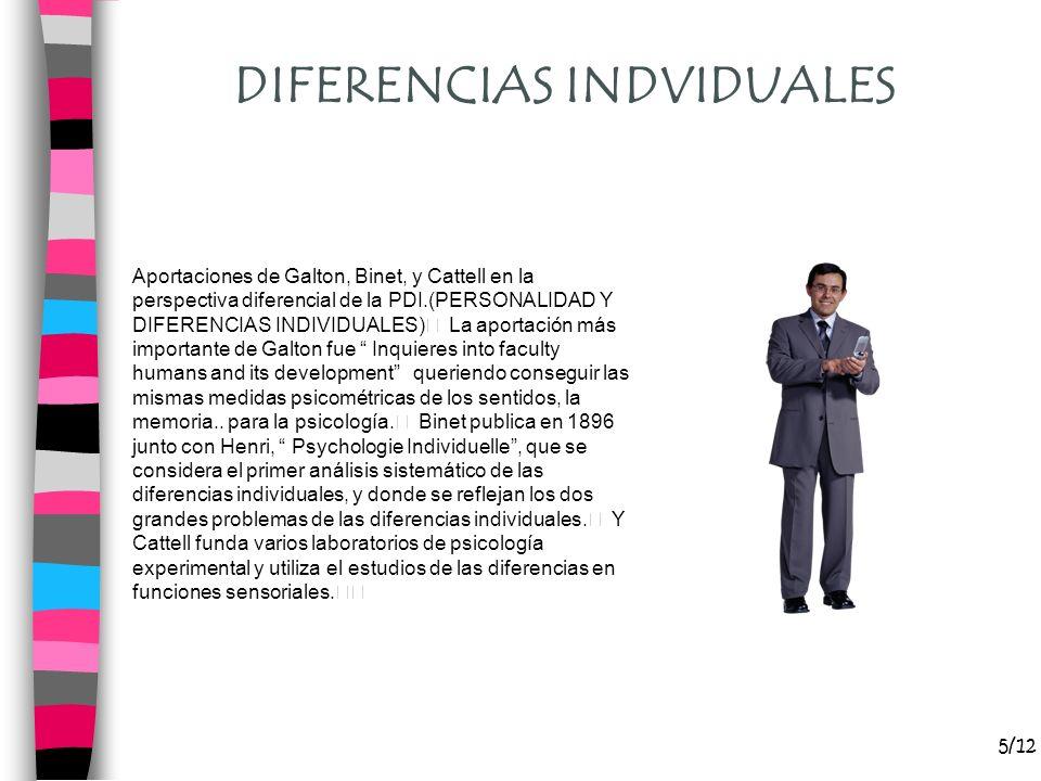 5/12 DIFERENCIAS INDVIDUALES Aportaciones de Galton, Binet, y Cattell en la perspectiva diferencial de la PDI.(PERSONALIDAD Y DIFERENCIAS INDIVIDUALES