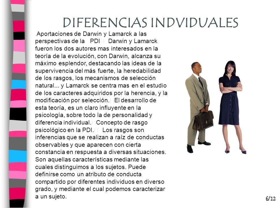 7/12 DIFERENCIAS INDVIDUALES Que aporta a la PDI el tema de la herencia y el medio La herencia, conjunto de genes que proceden de los progenitores y el individuo recibe en el momento de la concepción, es una base de la conducta humana.