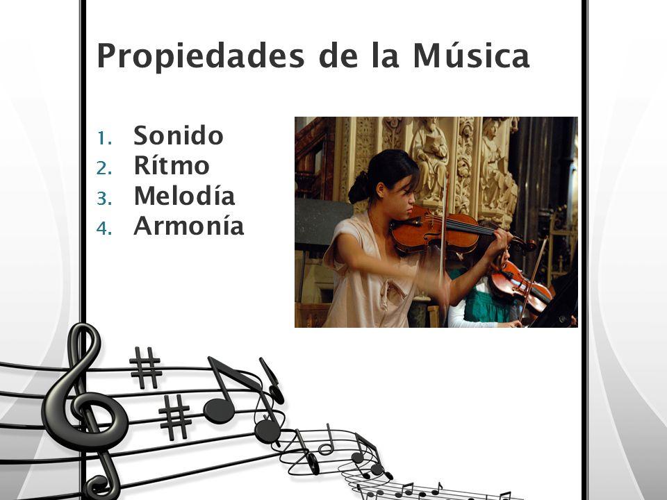 Propiedades de la Música 1. Sonido 2. Rítmo 3. Melodía 4. Armonía