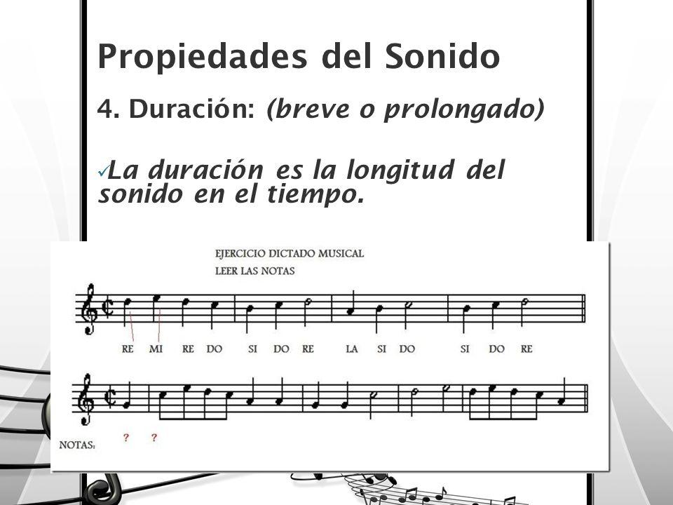 Propiedades del Sonido 4. Duración: (breve o prolongado) La duración es la longitud del sonido en el tiempo.