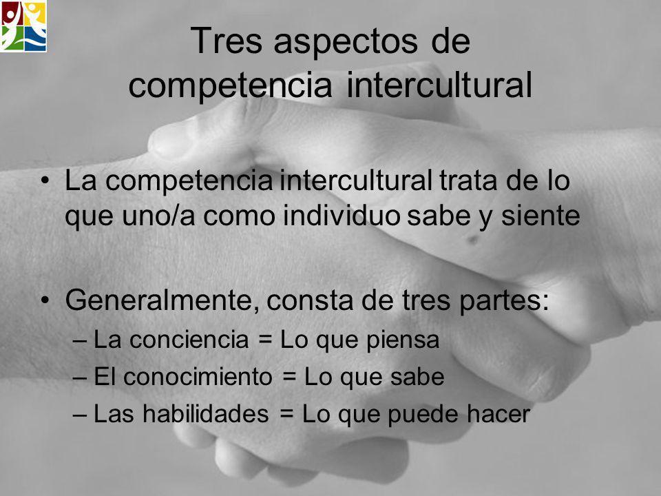 Tres aspectos de competencia intercultural La competencia intercultural trata de lo que uno/a como individuo sabe y siente Generalmente, consta de tre
