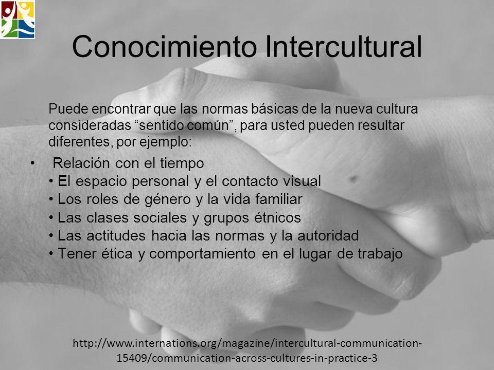 Conocimiento Intercultural Puede encontrar que las normas básicas de la nueva cultura consideradas sentido común, para usted pueden resultar diferente